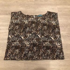 Alice & Olivia Silk Leopard Boxy Sleeveless Blouse